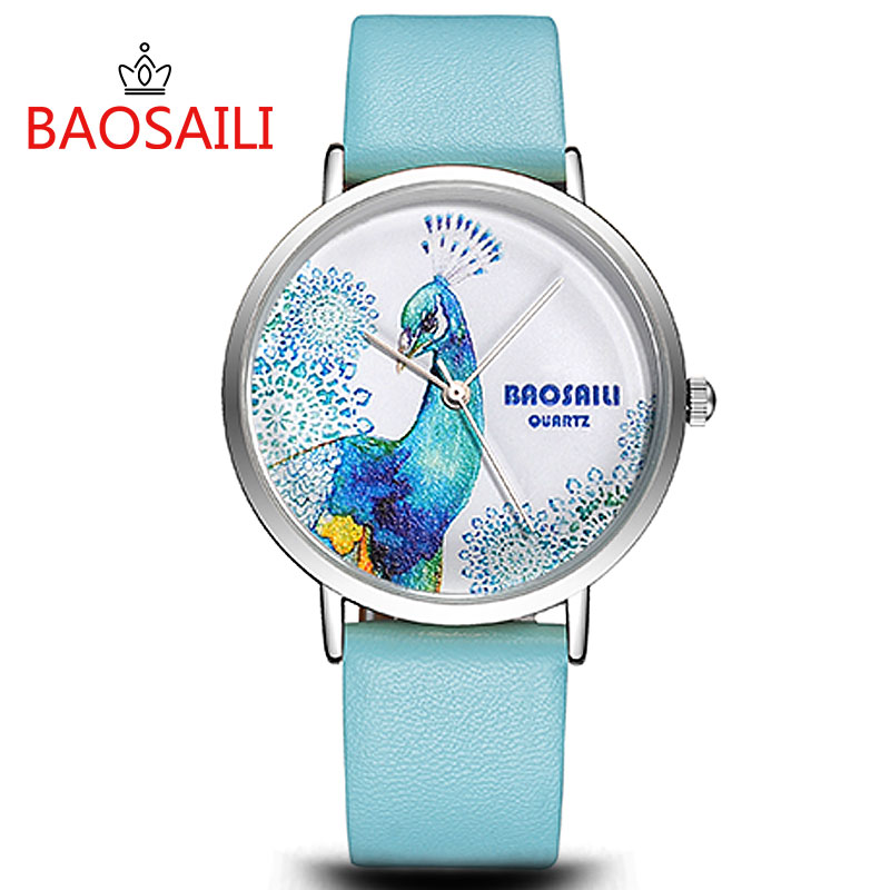 BAOSAILI Kids Clock Cute Peacock Girls Dress Wristwatches Lady Fashion Sport Casual Watch Enfant Ceasuri Quartz Relogio Feminino
