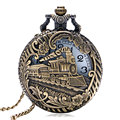 vintage bronze hollow Locomotive Train pattern pocket watch men women fob watches gift P1027