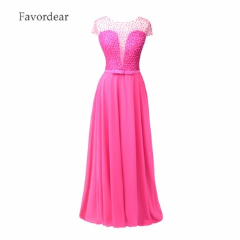 Favordear 2017 Red Pearls Lace A Line Prom Dresses veatidos Beaded Appliques Chiffon Floor Length Long Pink Pearls Evening Gowns