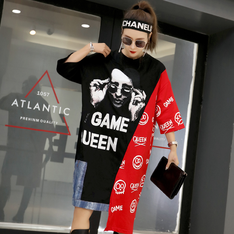 Pour Irrégulière Grande And 2019 Caractères Patchwork Robe Manches Mo Courtes Imprimer D'été T Filles Qf556 Qing Taille shirt Black Femmes Red Color 34A5RjL
