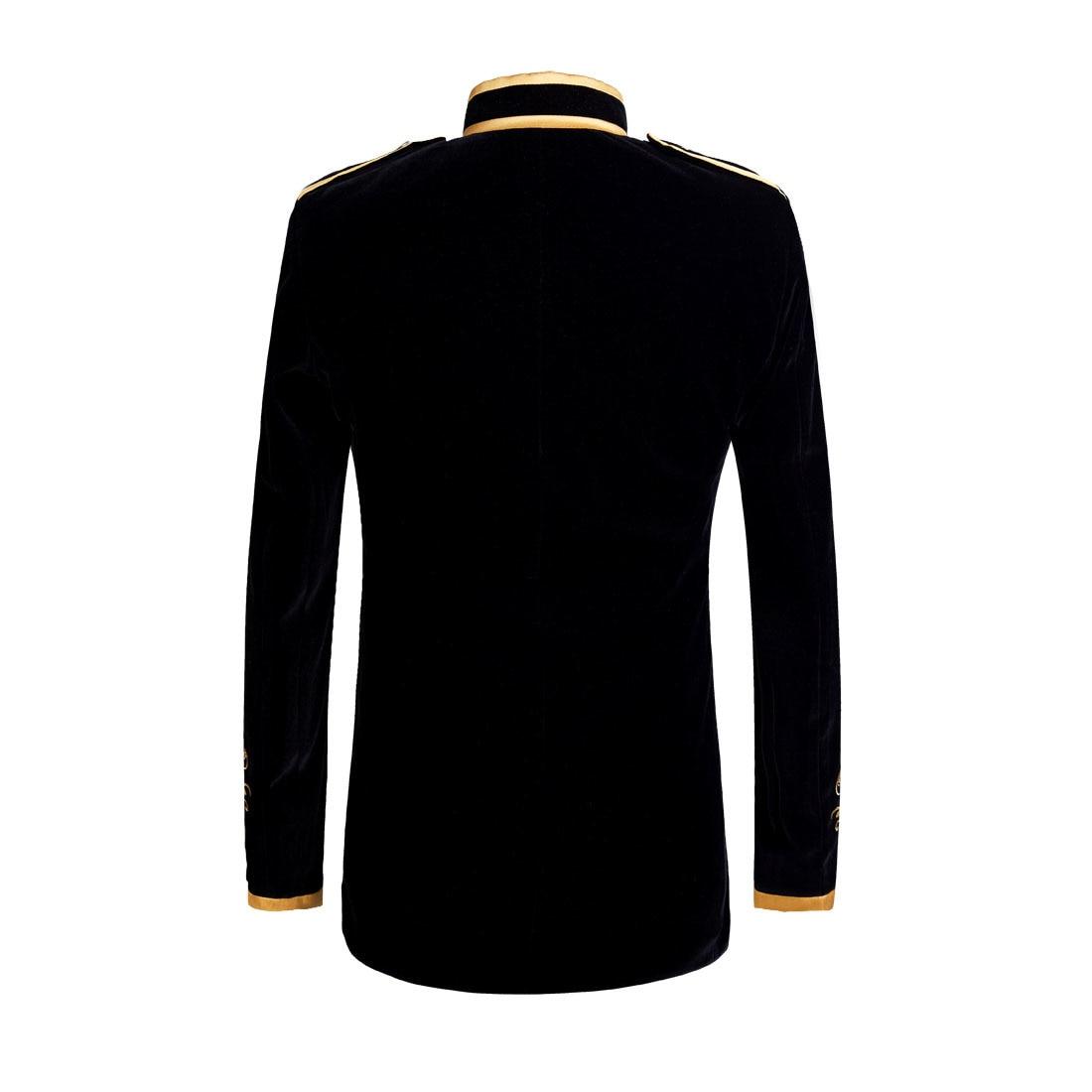 British Style Palace Prince Fashion Black Velvet Gold Embroidery Blazer 1