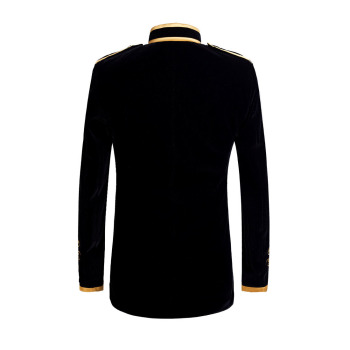 British Style Palace Prince Fashion Black Velvet Gold  2