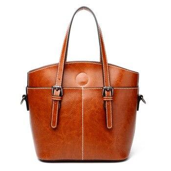 YUFANG Oil Wax Genuine Leather Women Handbags Bucket Style Female Shoulder Bags Cowskin Messenger Bags For Ladies Retro Brown