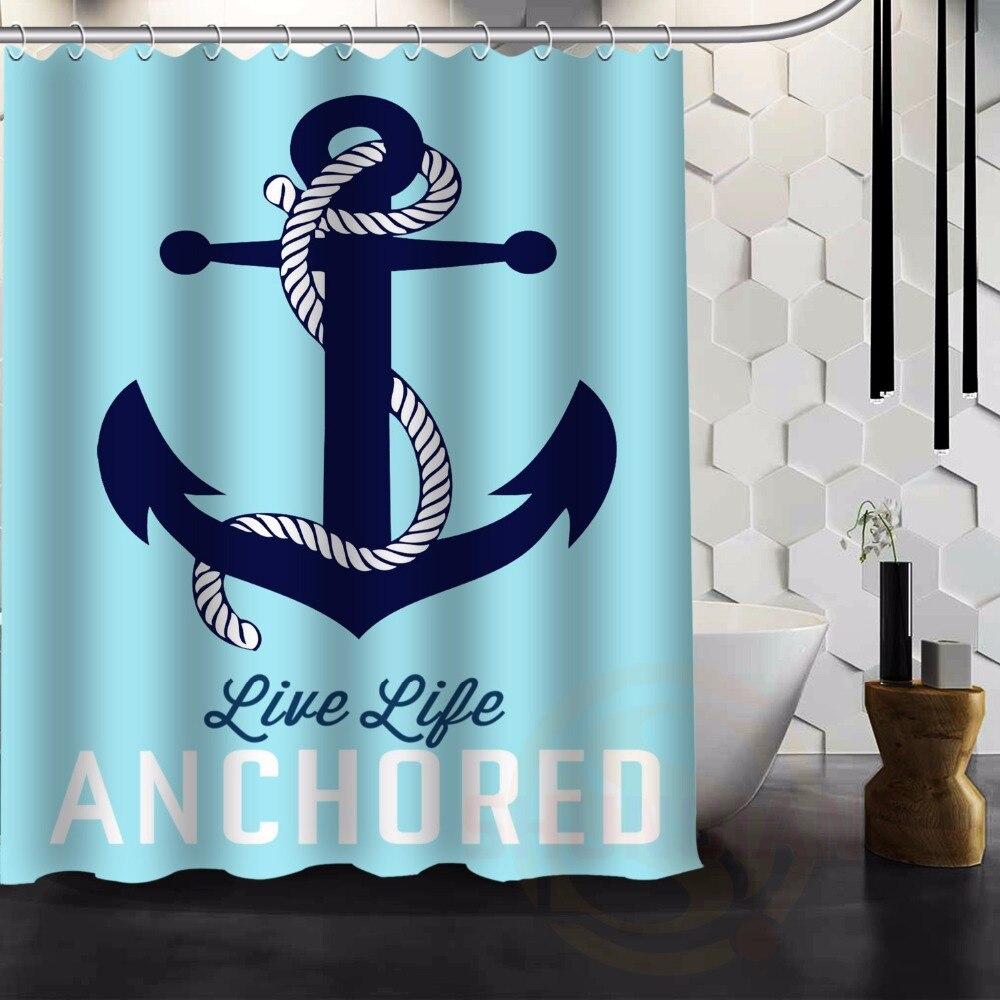 Fashion Navy Chevron U0026 Hope Anchor The Soul HEBREWS Waterproof Bathroom  Fabric Shower Curtain Decor