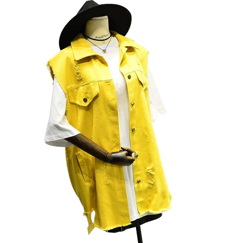 Yellow Oversize Sleeveless Jacket Women Black Denim Vest Korean Loose Jeans Coat Asymmetry Hole Female White Cardigan Outwear