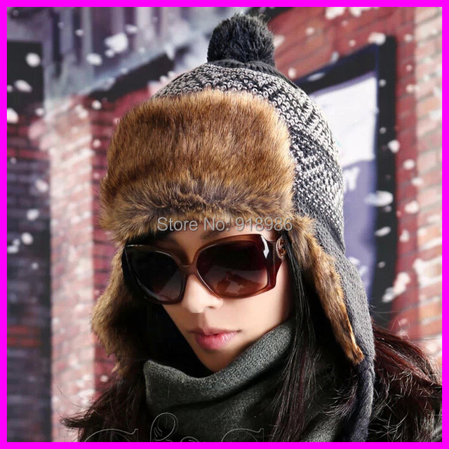 New Fashion Women Winter Skullies Beanies 2014 Winter Warm Knitted Ear Protector With Fur Beanie Hats For Men