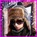 Nova Moda Feminina Inverno Skullies Gorros 2014 Inverno Quente tampão Feito Malha Protetor Auricular Com Fur Beanie Chapéus Para Os Homens