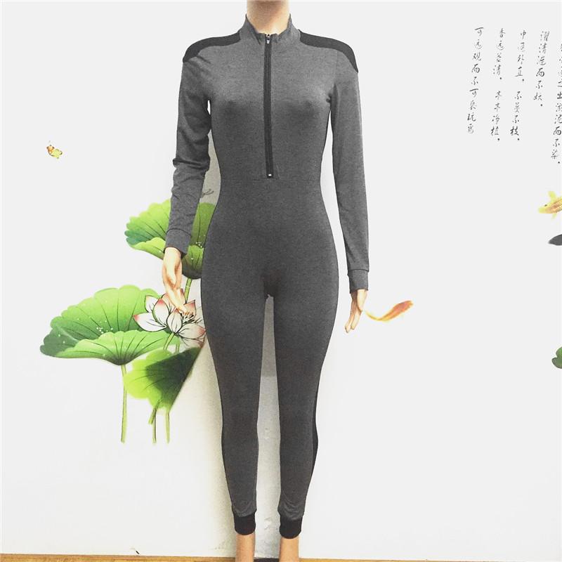 long sleeve full length zipper open close one piece jumpsuit sportswear bodysuit catsuit fitsuit activesuits tracksuit women's plus size sportsuits (3)