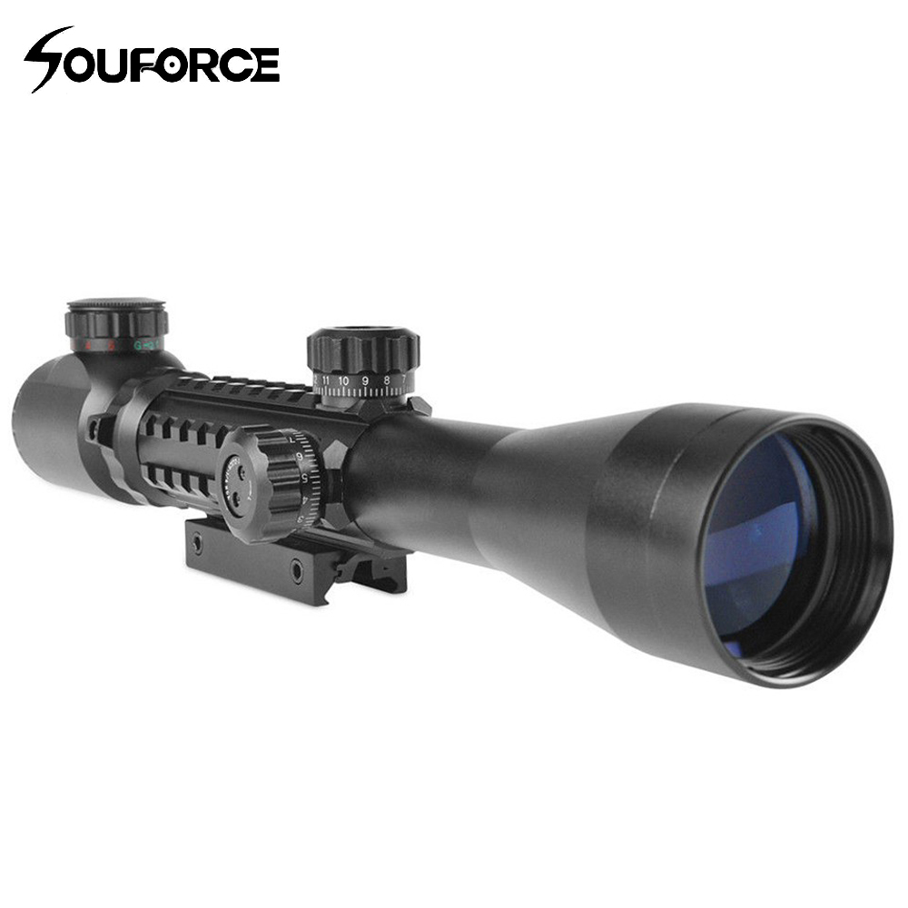 Tactical 3-9X40 Illuminated Red Green Rangefinder Reticle Riflescope of Tripe Picatinny Rail Hunting Airsoft Rifle Scope tactical 3 9x32 riflescope blue illuminated rangefinder reticle hunting scope with red laser