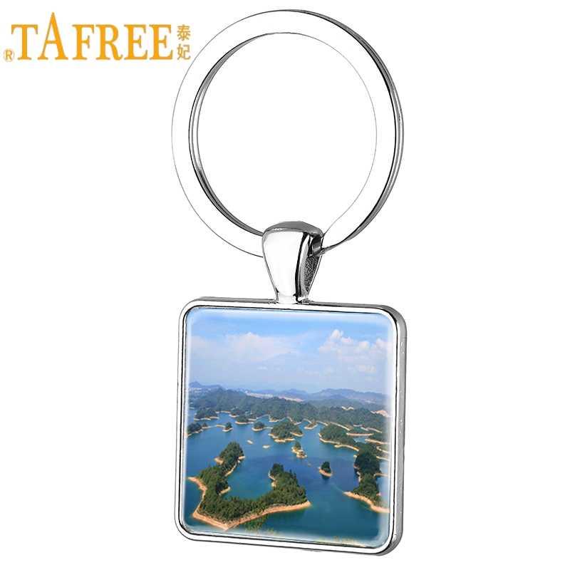 TAFREE พัน Islet Lake ใน Zhejiang ภาพสแควร์พวงกุญแจแฟชั่นแหวนแก้ว Cabochon ผู้ชายเครื่องประดับจี้ QD27