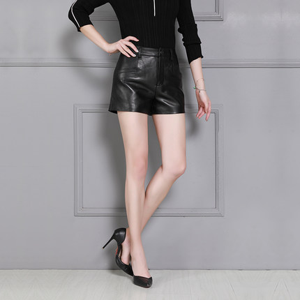 2019 Women High Waist New Sheep Leather Shorts K32