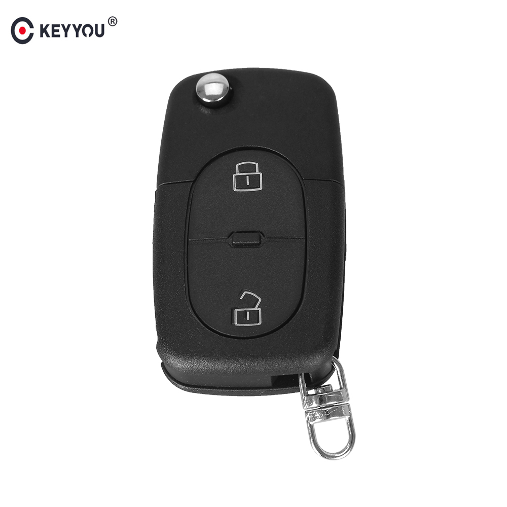 KEYYOU 2 BUTTON FOLDING FLIP REMOTE KEY BLANK FOB CASE SHELL PAD FOR FOR AUDI A2 A3 A4 A6 CR2032 free shipping 3 button flip key shell for cr2032 big battery type2 for audi 10 piece lot