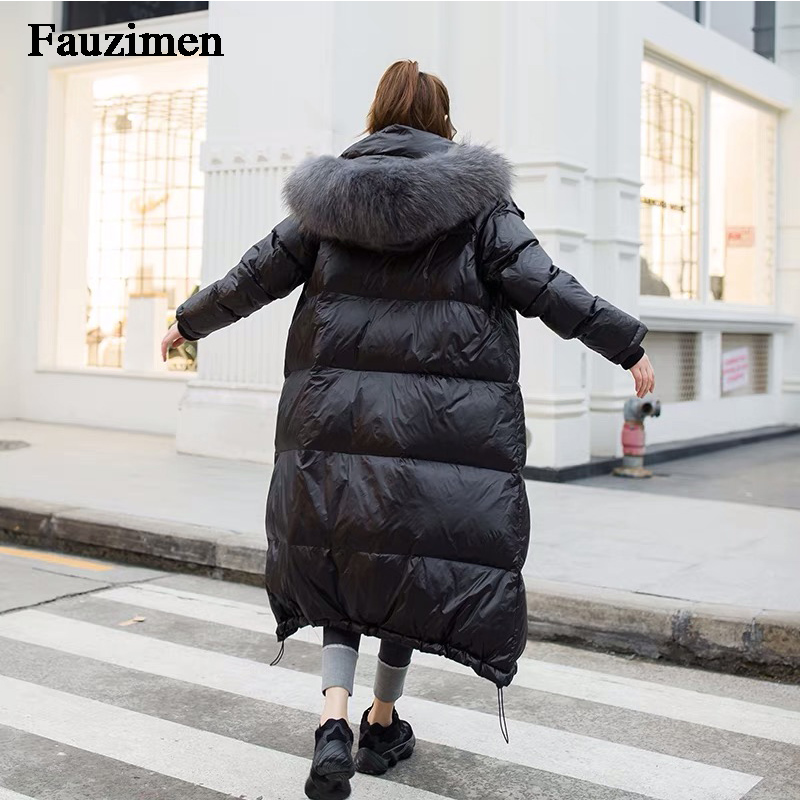 Janefur Women   Down     Coat   Winter Casual Padded   Coat   Fashion Big Fur Collar Solid Black Puffer Jackets Long Sleeve Bubble Parka