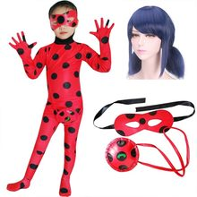 Fantasia Spandex Ladybug Costumes Kids Adult Cosplay Christmas Party Girls Children Lady Bug Zentai Suit Halloween Costume Wig