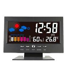 KKMOON-horloge thermomètre et hygromètre numérique, baromètre numérique, calendrier, horloge et affichage LCD pour bureau