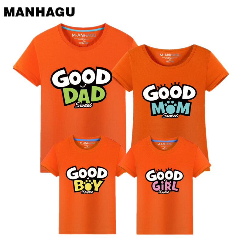 Mom and Daughter Matching Clothes Family Look Outfits T-shirt Summer Baby Mother Father Son Short Sleeve Print Tee Kid Costume