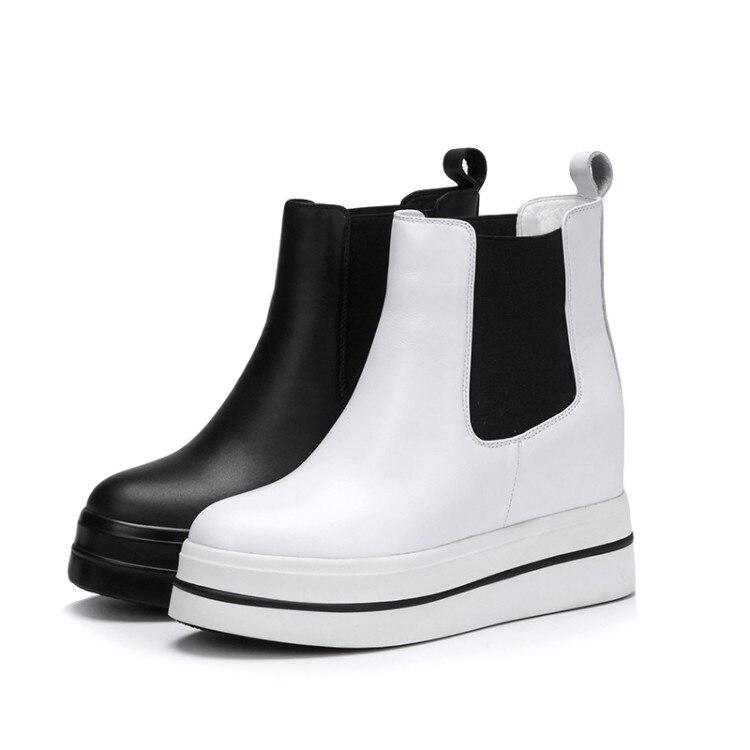 2c75a54b4 Plataforma {zorssar} Couro Altura Sapatos Crescente Mulheres 2019 Curtas Da Ankle  Boots branco De Genuíno Preto ...