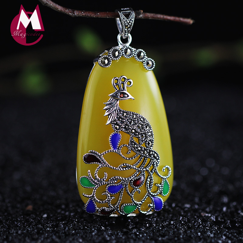 Jade 100% 925 Sterling Silver Pendant Ethnic Jewelry Bohemian Colorful Women Beads Stone Peacock Pendant Necklace SP14