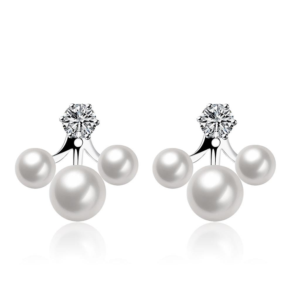Chic Double Side Simulated Pearl Ear Jacket Earrings Fashion Brinco Cute  White Gold Colour Jewelry(