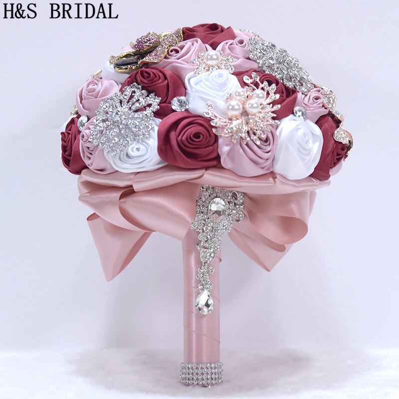 H&S BRIDAL 14 Colors Wedding Bouquets Flowers Bridal Bouquets Artificial Wedding Bouquet Crystal Sparkle 2019 Buque De Noiva
