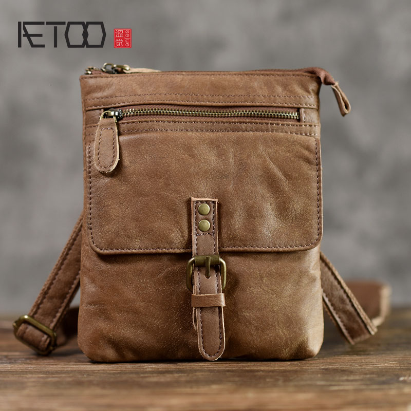 AETOO The first layer of leather casual shoulder bag trend American nostalgic carry bag leather men's pockets aetoo first layer of leather pockets of men bag leisure leather chest bag pockets