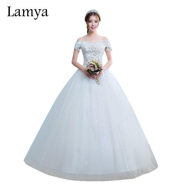 Lamya Princess Cheap Lace With Crystal Elegant Wedding Dresses 2018