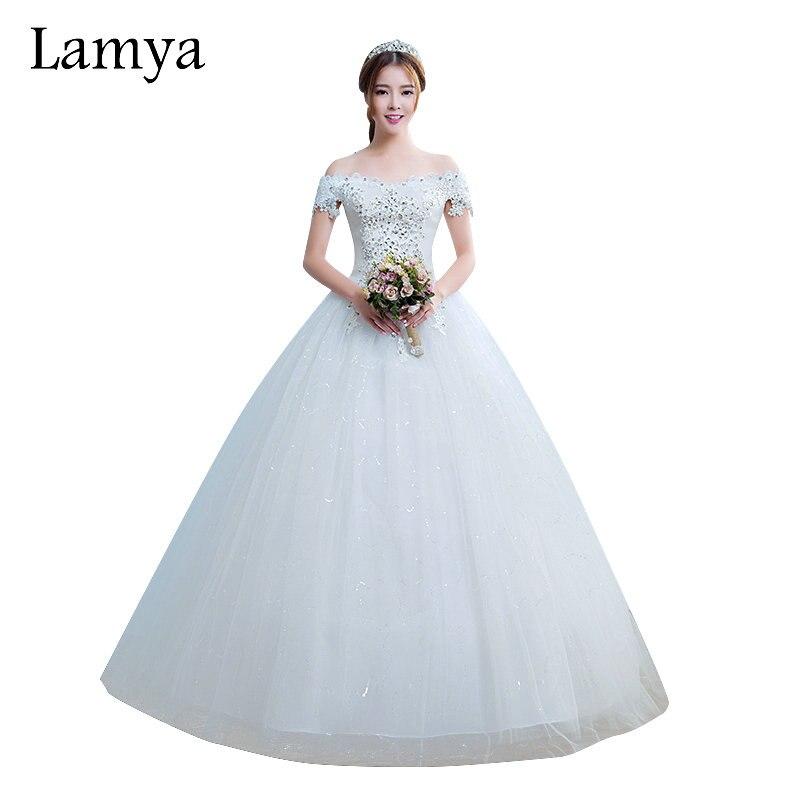 lamya princesa barato encaje con crystal vestidos de boda elegantes moda boat neck vestidos de novia para las mujeres