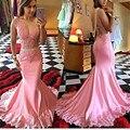 Perlas de encaje Largos Vestidos de Noche 2017 Vestido Párr Madrinha de Casamento Sexy Ver A Través de Sirena de Pink Prom Vestidos