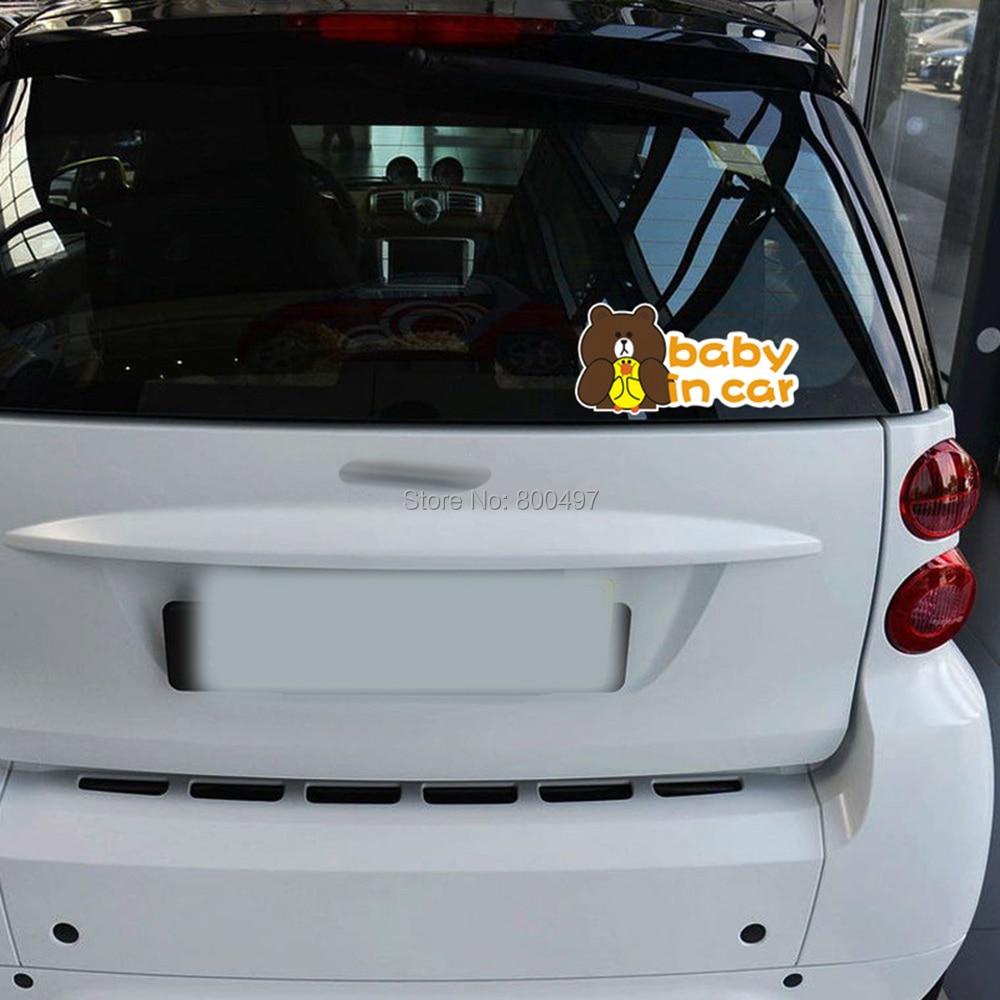 10 x Newest Design Bear Rabbit Baby In Car Creative Auto Decal Cartoon Car Sticker Car Bumper Body Decal Creative Pattern Vinyl