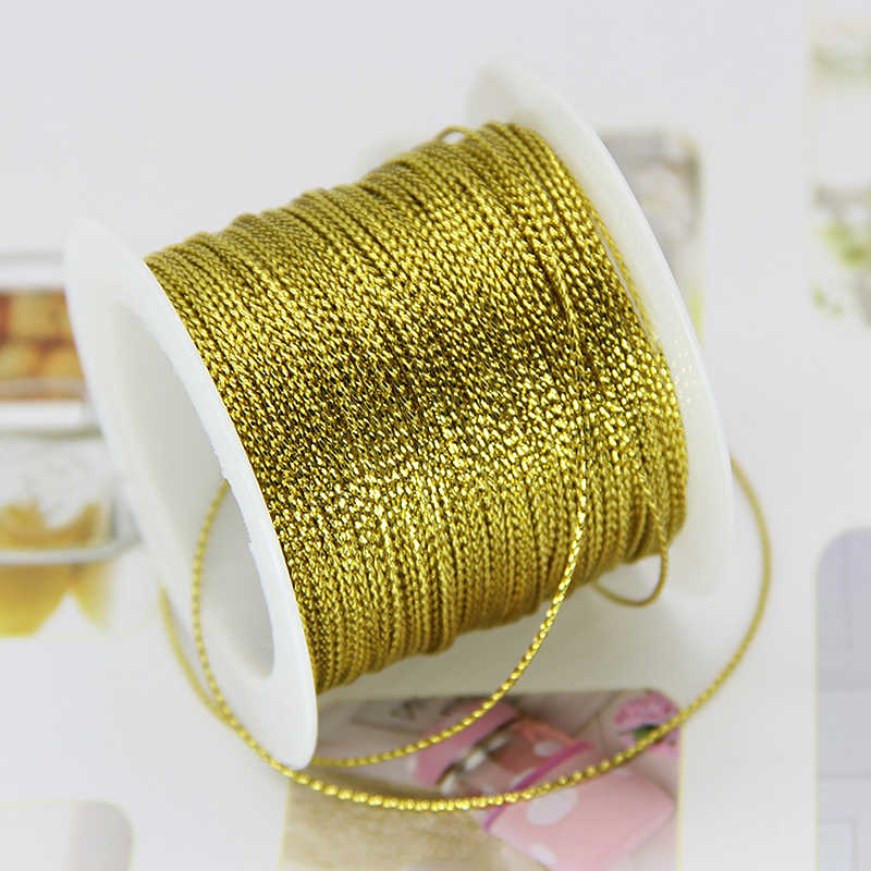 Golden Cord For Trademark Jewelry Bracelet Twine Tag Tassel Making Crafts Gift Thread Rope For Wedding Christmas 20M 1Mm