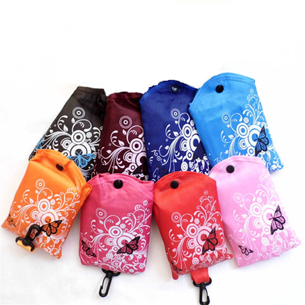 Butterfly Big Square Portable Folding Reusable Storage Bag Shoulder Handle Bag Polyester Storage Bag for Travel Shopping
