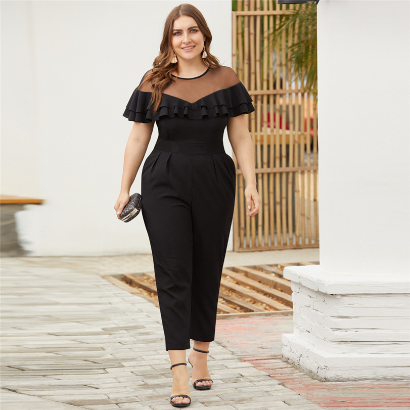 Large Size Rompers Womens Jumpsuit Summer Party Regular Embellished Cuffs Mesh Sleevee Club Pants Combinaison Pantalon #1