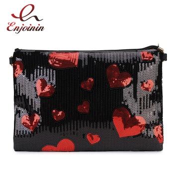 цена на Fashion Sequin Heart Pattern Pu Leather Ladies Daily Clutch Envelope Bag Crossbody Messenger Bag Shoulder Bag Women Flap Bolsa