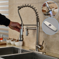 Christmas Gift Nickel Spring Kitchen Faucet Single Handle One Hole with LED Light Mixer Tap