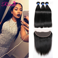 8A Brazilian Virgin Hair With Frontal Closure Brazilian Straight Hair With Closure Ear To Ear Lace Frontal Closure With Bundles