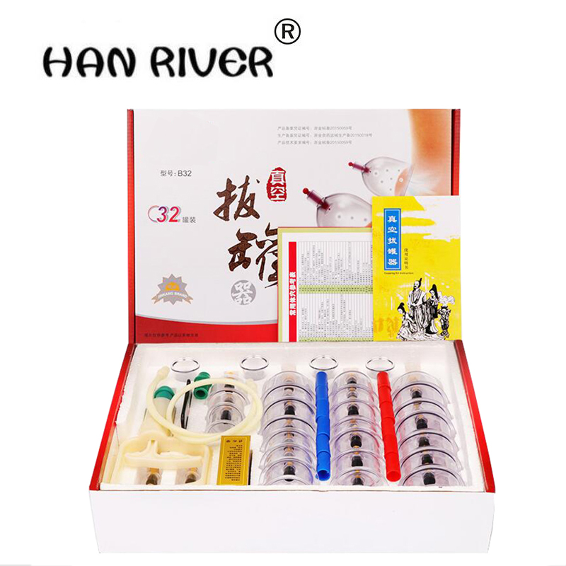 High Quality 32 Pcs Cans cups Chinese Vacuum Cupping Kit Pull Out A Vacuum Apparatus Therapy Relax Massagers Curve Suction Pumps cheap 12 pcs cups vacuum cupping massage therapy body beauty relax chinese medical apparatus therapy suction cupping massagers