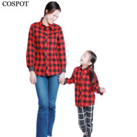 COSPOT Mother and Daughter Christmas Shirt Mom and Girl Red Plaid Matching Family Blouse Baby Girls Autumn Top Shirt 2018 20D