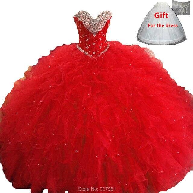 Novo 2016 Rosa Vermelho Azul Royal Vestidos Quinceanera vestido de Baile Frisada Cristais Ruffles Doce 16 Vestido Vestidos 15 anos