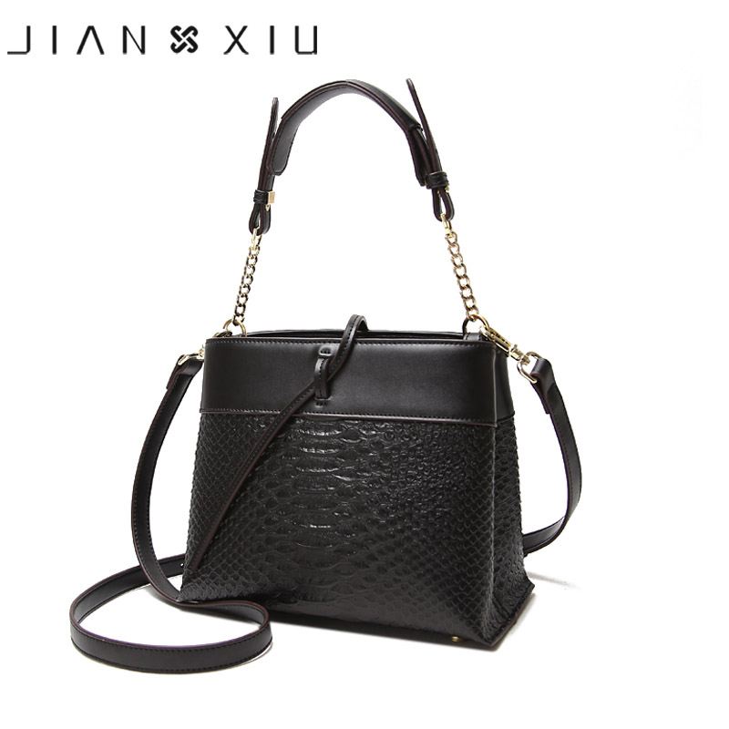 JIANXIU Brand Fashion Women Leather Handbags Crocodile Pattern Messenger Bags Sac a Main Small Shoulder Crossbody Bag Chain Tote women pu leather shoulder bag fashion lady sac a main fashion handbags shell tote crossbody with small bear woman messenger bags