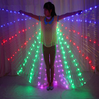 LED Belly Bancing lsis Wings DJ Wing Girls Dance Costumes Light Up Wings Set Dance Accessories Halloween