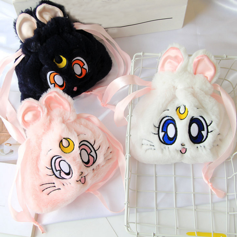 1pc new Cartoon Sailor Moon Cosmetic Bag Plush Drawstring Pocket Faux rabbitfur Pouch Sailor Moon Luna Cat Storage bag plush toy