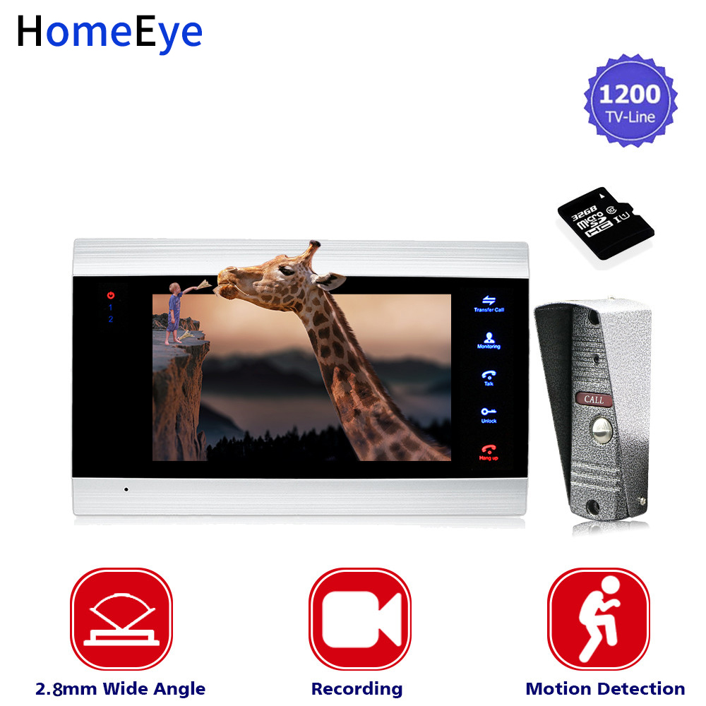 7'' Wide View Angle Video Doorbell Video Intercom Home Access Control System+32G Card Motion Detection Multi-languages OSD Menu