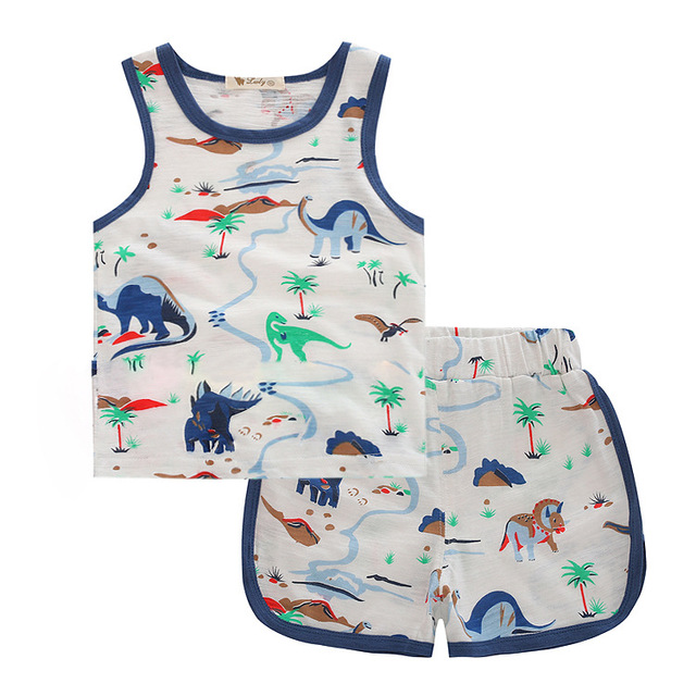 Moda 2016 de Los Niños del verano conjunto activo camisetas y pantalones cortos niño niña de dibujos animados patrón de dinosaurio Trajes ropa 2 unids
