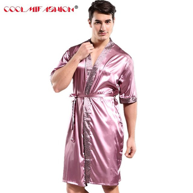 Мужской Шелковый кимоно Для ванной Халат платье Китайский Для мужчин район ночное белье унисекс v-образным вырезом пижамы Домашняя одежда Для ванной Халат Для мужчин