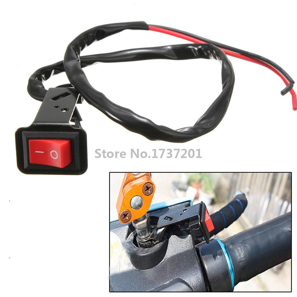 Motorcycle Handlebar Headlight Push Button Switch With LED Light Waterproof