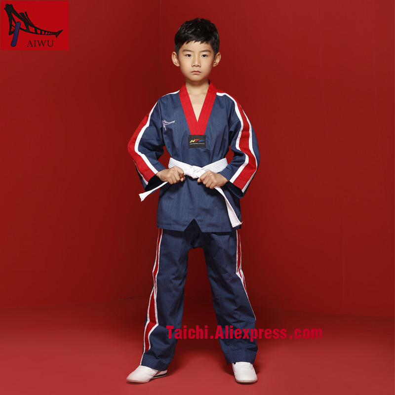 Stripe Tae Kwon Do Children Taekwondo Uinform For Poomsae & Training,WTF Uniform,110-155cm White,black,blue,red