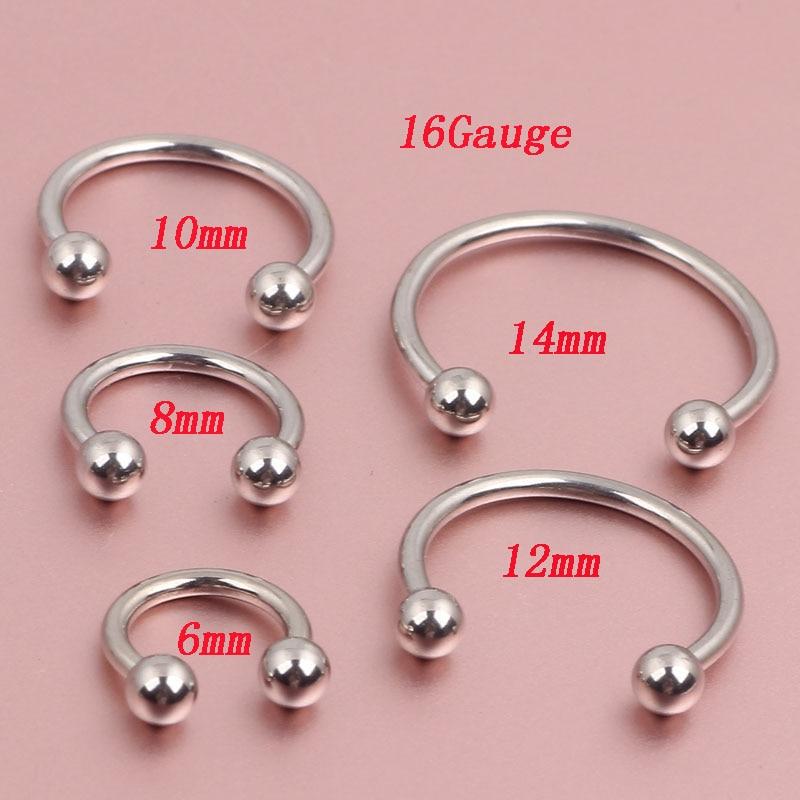 Stainless Steel Horseshoe Bar Lip Nose Septum Ear Ring Various