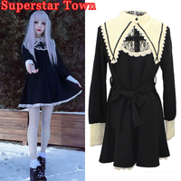 Gothic Lolita Dress Vintage Robe Darkness Maid Fake Collar Lace Dresses Harajuku Girls Nun Sister Anime