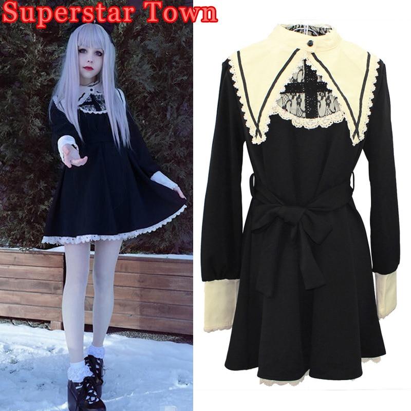 gothic lolita dress vintage robe darkness maid fake collar