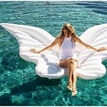 Nya 180x120cm uppblåsbara vattenflöde vinge fjäril form flytande strand simma sits säng pool float pool